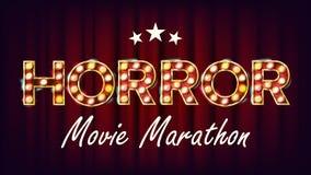 Horror Movie Marathon Background Vector. Cinema Vintage Style Illuminated Light. For Festive Advertising Design. Modern. Horror Movie Marathon Background Vector Royalty Free Stock Image