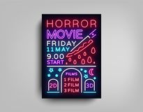 Horror movie postcard typography design neon template. Brochure in style neon, neon sign, colorful poster, banner light. Night bright advertising on movies Royalty Free Stock Photo
