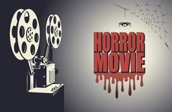 Horror movie poster. Horror night cinema poster with retro movie projector background stock illustration