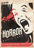 Horror movie show retro cinema poster design Royalty Free Stock Photography