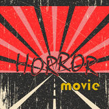 Horror movie vintage poster. Horror movie grunge vintage poster with road Stock Image