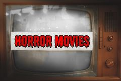 Horror movies genre television label old tv text vintage retro. Background royalty free stock photography