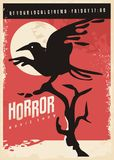 Horror movies retro poster design with black raven royalty free illustration