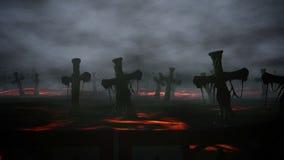 Horror night cemetery, grave. Moonlight . halloween concept. 3d animation