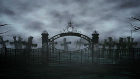 Horror night cemetery, grave. Moonlight . halloween concept. 3d animation stock video footage