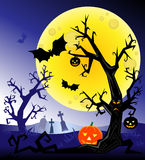 Horror night. Monster tree and bats against full moon Stock Photography