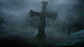 Horror night park. Moonlight . halloween concept. 3d animation stock video footage