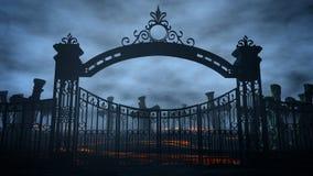 Horror nocy cmentarz, grób światło księżyca pojęcie kalendarzowej daty Halloween gospodarstwa ponury miniatury szczęśliwa reaper, royalty ilustracja