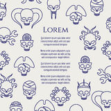 Horror poster with line cute skulls. Vector illustration Royalty Free Stock Image
