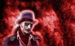 Horror powieści charakter Agresywny gniewny pirat z drymbą w usta, wzrastającym od nieboszczyka E obraz stock
