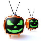 Horror pumpkin television Stock Photography