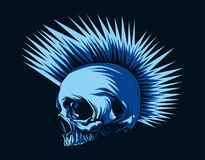 Horror punk head Skull in dark blue background. From wide angle Stock Photo