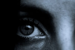 Horror scena: Żeński oko uczeń Zdjęcia Royalty Free