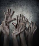 Horror scena Ręka na ściennym backround Plakat, okładkowy pojęcie Obraz Royalty Free