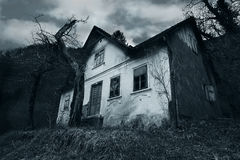 Horror scene of a abandoned house stock photo