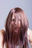 Horror scene of creepy scary girl Stock Photography