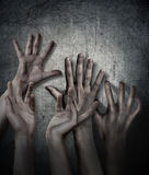 Horror Scene. Hand on wall backround. Poster, cover concept. Royalty Free Stock Image