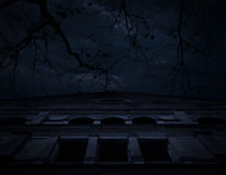 Horror scene of old grunge castle over dead tree, moon and cloud Stock Photography