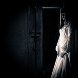 Horror Scene of a Scary Woman. In a Wedding Dress Stock Images