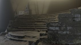 Horror scene of stair and old sculptures, expectation, fog, mystery at abandoned place. 3d illustration Stock Images