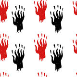 Horror seamless pattern for halloween. Creepy horror seamless pattern with hand drawn bloody monster hands in red and black on white Stock Image