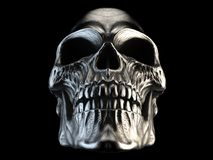 Horror silver heavy metal skull. Isolated on black background Royalty Free Stock Images