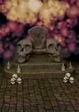 Horror Skull throne. Horror background with a skull throne and candles royalty free illustration