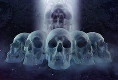 Horror skulls row and mist Stock Photography