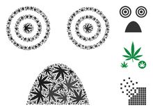 Horror Smiley Collage of Hemp Leaves. Horror smiley mosaic of marijuana leaves in variable sizes and color tinges. Vector flat marijuana leaves are composed into Royalty Free Stock Photos