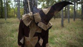 Horror spajał strach na wróble pozycję w lesie z parciak maską zbiory wideo