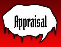 Horror speech bubble with APPRAISAL text message. Red background. Illustration concept Royalty Free Stock Images