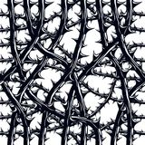 Horror style horrible seamless pattern, vector background. Black. Thorn branches with thorns stylish endless illustration. Hard Rock and Heavy Metal subculture Stock Images