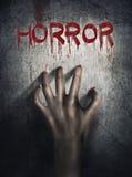 Horror-Szene Hand auf Wand backround Plakat, Abdeckungskonzept stockbilder