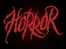 Horror text illustration with blood splats. Halloween illustration. Horror text illustration with blood splats on black background royalty free illustration