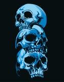 Horror three head Skull in dark blue background stock illustration