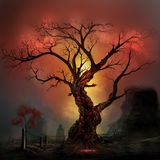 Horror tree. Scary horror tree with zombie and monster demon faces Royalty Free Stock Photos