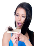 Horror of unhealthy ends of woman's hair Stock Photos