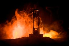 Horror view of Guillotine. Close-up of a guillotine on a dark foggy background. Execution concept royalty free stock photos