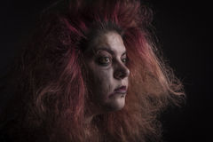 Horror woman in the dark Royalty Free Stock Photo