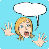 Horror woman face with speech bubble. Funny cartoon style emotional facial expression with speech bubble. Easy-edit layered vector EPS10 file scalable to any Royalty Free Stock Photography