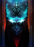 Horror woman portrait. Horror and scary tribal woman portrait with blue fire crown character design stock illustration