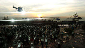 Horror zombie crowd walking. Apocalypse view, concept. 3d rendering. royalty free illustration