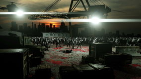 Horror zombie crowd walking. Apocalypse view, concept. Realistic 4K animation.