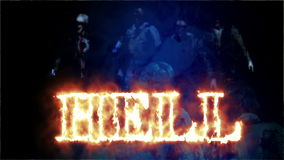 Horror Zombie with Effects and word hell in fire, mixed media of two CG animation