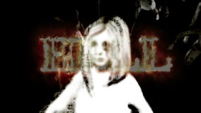 Horror Zombie with Effects and word hell in fire, mixed media of two CG animation stock footage