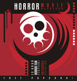 Horrorfilmmarathon- oder -Horrorfilmfestivalplakatdesign Lizenzfreie Stockbilder