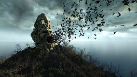 Horrorinsel im Ozean teuflischer schreiender Schädel Ein grimmiger Minireaper, der eine Sense anhält, steht auf einem Kalendertag Lizenzfreie Stockbilder