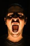Horrorszene mit schreiendem furchtsamem menschlichem Gesicht - Halloween lizenzfreie stockfotos