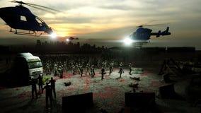 Horroru żywego trupu tłumu odprowadzenie Apokalipsa widok, pojęcie Realistyczna 4K animacja royalty ilustracja