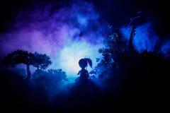 Horroru Halloween dekorujący konceptualny wizerunek Samotna dziewczyna z światłem w lesie przy nocą Sylwetka dziewczyny pozycja p Obraz Stock